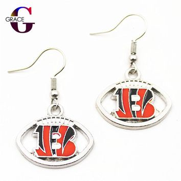 1pair women fashon jewelry Drop Earrings Cincinnati Bengals logo earrings Football Team Charms Sports fan Alloy Enamel Earrings
