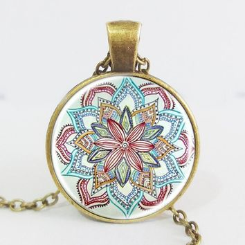 Gem dome glass rhinestone necklaces jewelry mandala flower pendant & necklace henna yaga necklace om symbol buddhism zen 3 color Antique Bronze Plated