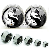 Yingyang Fish  Double Flare steel  plugs,womens plugs,Body Piercing Gifts,0g plugs,00 plug,birthday presents for him,groom &bride gift