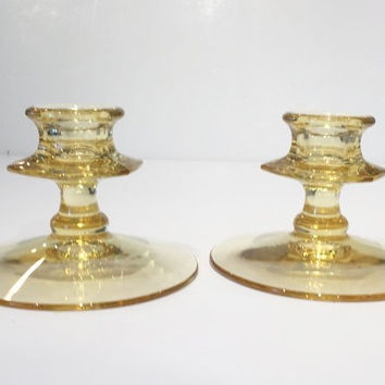 Yellow Depression Glass Candlestick Holder , Topaz Depression Glass Candlestick Holders, Vintage Yellow Depression Glass Candlestick Holders