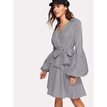 Surplice Wrap Tie Waist Lantern Sleeve Stripe Dress