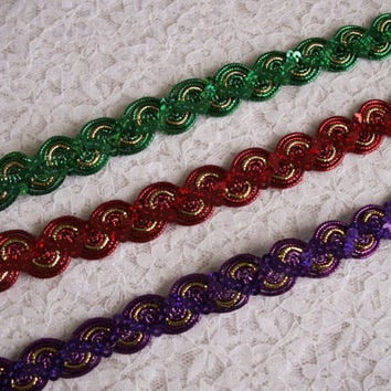 Sequin Metallic Braid Trim, Sparkle Trim, Costumes, Dancewear, Burlesque, Fascinators & Hats, Doll Clothes, Christmas Crafts, 2 YARDS
