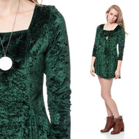 Crushed VELVET Dress 90s GRUNGE Mini Forest Green by ShopExile