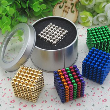 216 pcs/package 5mm Magic Game 16 Kinds DIY Cubes Balls Puzzle Magnets Board Game with  Metal Box