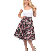 Brown & Floral High Waisted Rosie Swing Skirt