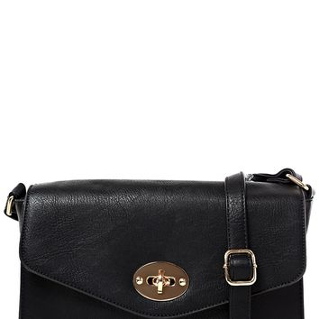 Faux Leather Black Cross Body Bag