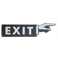 Vintage Metal Exit Sign with Arm and Pointing Finger 20-3/4-in