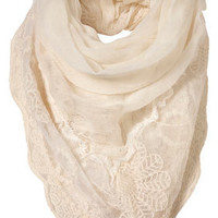 Cream Lace Trim Scarf - Scarves  - Accessories  - Topshop USA