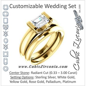 CZ Wedding Set, featuring The Tory engagement ring (Customizable Cathedral-style Bar-set Radiant Cut Ring with Prong Accents)