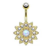 BodyJ4You Belly Button Ring Opal Flower Jeweled Goldtone Piercing Jewelry