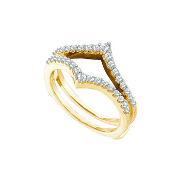 14kt Yellow Gold Womens Round Diamond Ring Guard Wrap Enhancer Wedding Band 1/2 Cttw 46750