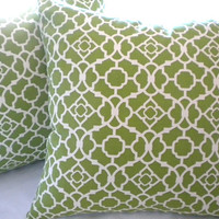 "Decorative Indoor/Outdoor beach Lattice Pillow -Green and cream - ""18x18"" pillow cover"