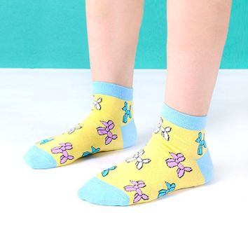 Balloon Dog Shaped Animal Graphic Print Cotton Short Ankle Socks for Women in Yellow