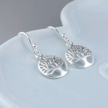 Silver Tree of Life Earrings, Sterling Silver, Family Tree Earrings