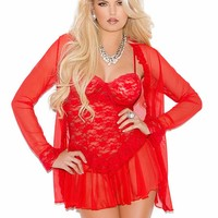 Red Lace Babydoll Set