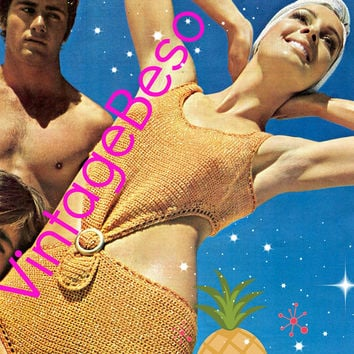 Digital Pattern - PdF - Sexy Monokini Vintage CROCHET Pattern 1970s Bathing Suit Swimsuit Maillot One Piece Swimwear VintageBeso