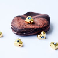 Heart Beads Connectors 5 Pcs Brass And Evil Eye Love Beads , Turkish Evil Eye , Jewelry Supplies For Necklace Bracelet Made in Turkey Beads