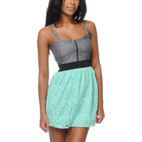 Empyre Girls Tula Mint Crochet Zipper Dress
