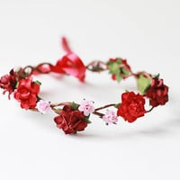 rose hair wreath / red wine pink bridal headpiece, flower crown headband, floral, whimsical, romantic, pastel.
