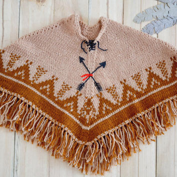 Hand knit kids poncho // Brown poncho beige cape for toddler 2-3 years, warm cape knitted poncho, fringed tribal toddler cape, onward onward