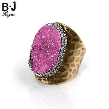 Bojiu Natural Druzy Stone Ring Adjustable Size Rings For Women Copper Antique Gold Quartz Women's Rings Fashion Jewelry RI010