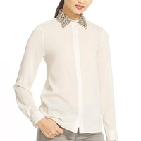 Women's Alice + Olivia 'Saira' Embellished Collar Stretch Silk Blouse,