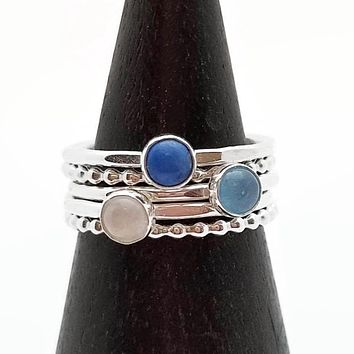 Set of Five Stacking Rings Gemstone Lapis Aquamarine and Moonstone