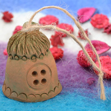 Handmade ethnic decorative wall hanging ceramic figured bell country house