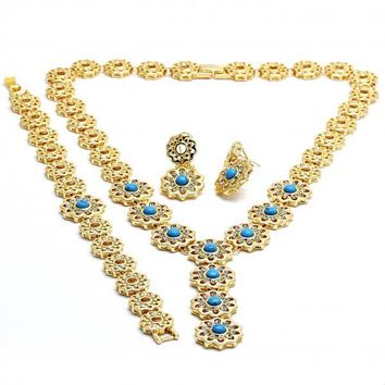 Gold Layered 06.59.0078 Necklace, Bracelet and Earring, Flower Design, with Blue Topaz Opal and White Crystal, Polished Finish, Gold Tone