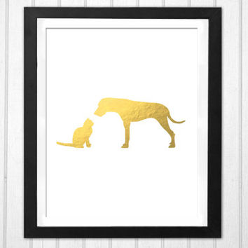 Cat and Dog Faux Gold best friends print  INSTANT DOWNLOAD