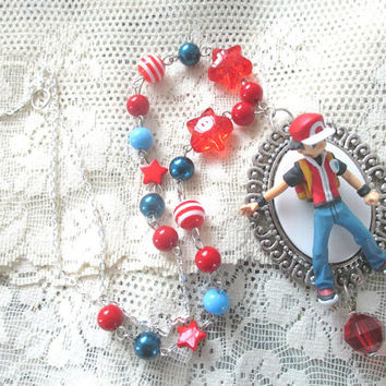 Pokémon Necklace - Trainer RED Beaded Necklace - Pokemon GO - Team Valor, Team Mystic, Team Instinct