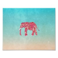 Whimsical Colorful Elephant Tribal Floral Paisley
