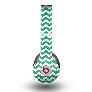 The Green & White Chevron Pattern V2 Skin for the Beats by Dre Original Solo-Solo HD Headphones