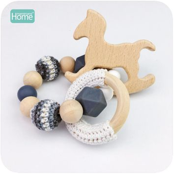 MamimamiHome Baby Rattle Beech Horse Wood Teething Crochet Beads Bracelets Montessori Toys For Children Baby Crochet Toys