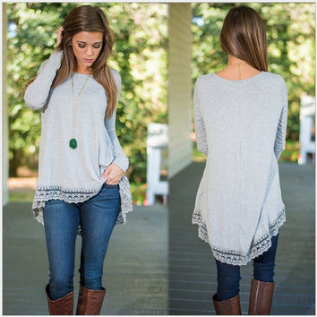 Grey Lace Trim Long Sleeve Shirt