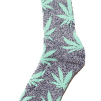 Weed Pattern Socks in Gray | Mint Aqua Leafs - HS-046