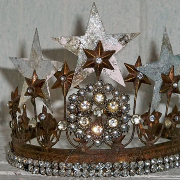 Embellished rhinestone crown French Santos vintage inspired rusty aged brass home decor Anita Spero