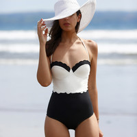 Summer Style White Black High Waist One Piece Swimsuit