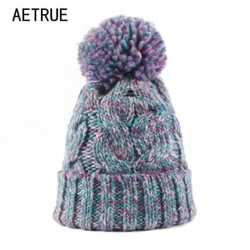 AETRUE Winter Beanies Women Knit Hat Winter Hats For Women Ladies Girls Caps Balaclava Pompom Bonnet Warm Skullies Beanies Hat