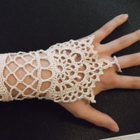FREE SHIPPING! Delicate Hand-Crocheted lace bracelet ring slave bracelet, inspired by Henna tattoos. (set of two)