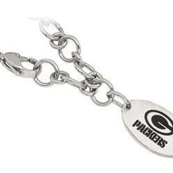 Stainless Steel Green Bay Packers Logo Dangle Bracelet - 8 Inches