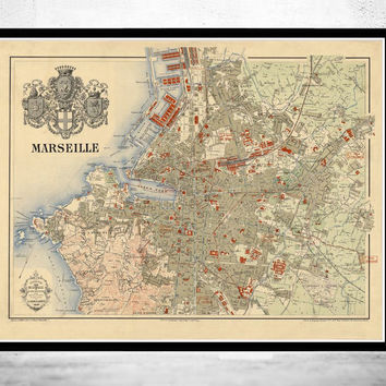 Old Map of Marseille with gravures, City Plan France 1840 Vintage