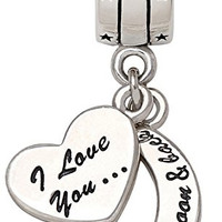 """""""I Love You To The Moon and Back"""" Two-Piece Pendant Bead Charm ALOV Sterling Silver pandora charm birthday gift"""