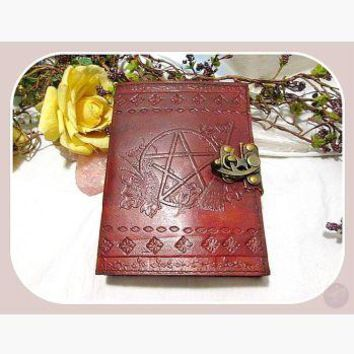 Witches Pentagram Latched Leather Journal