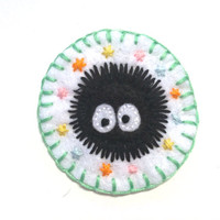 Hand-Embroidered Sparkly Studio Ghibli Soot Sprite Merit Badge Patch