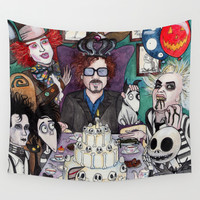 TIM BURTON TEA PARTY Wall Tapestry by VinceGabriel