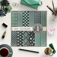 Mint Chalkboard Digital Paper Mint Chalk Backdrop Mint Patterns Scrapbook Paper 12X12 Printable Chalk Board Stationery Signs Crafts Cards