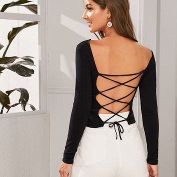 Lace-up Open Back Solid Sweater
