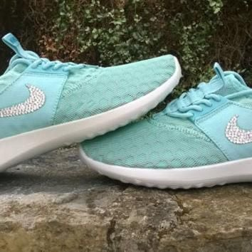 blinged nike free roshe juvenate run sneakers athletic sport shoes custom with swarovs