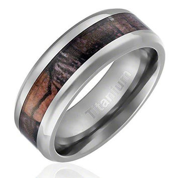 8MM Titanium Ring Wedding Band Camouflage Inlay Beveled Edges | FREE ENGRAVING